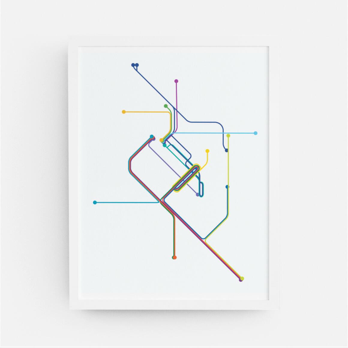 Denver Rail Transit Map Print | Trada Marketplace