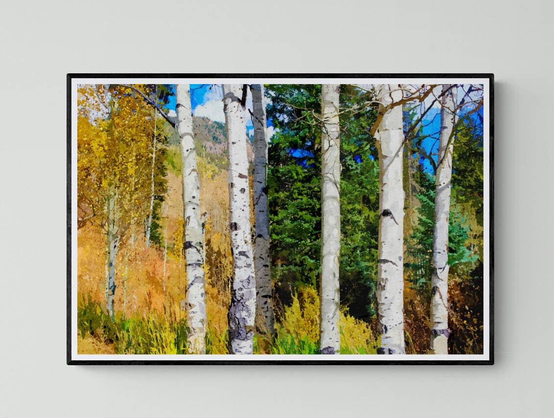 """Hillside Aspen Grove"" Fine Art Print | Trada Marketplace"