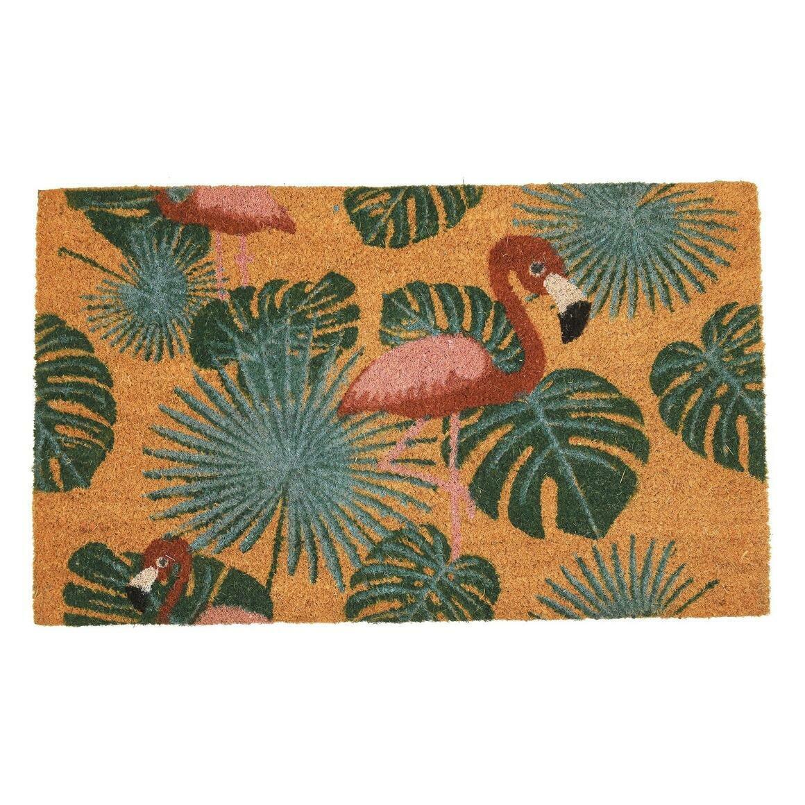 """Natural Coir Doormat; Rose Pink Flamingo Design (30"""" X 18"""")   Trada Marketplace"""