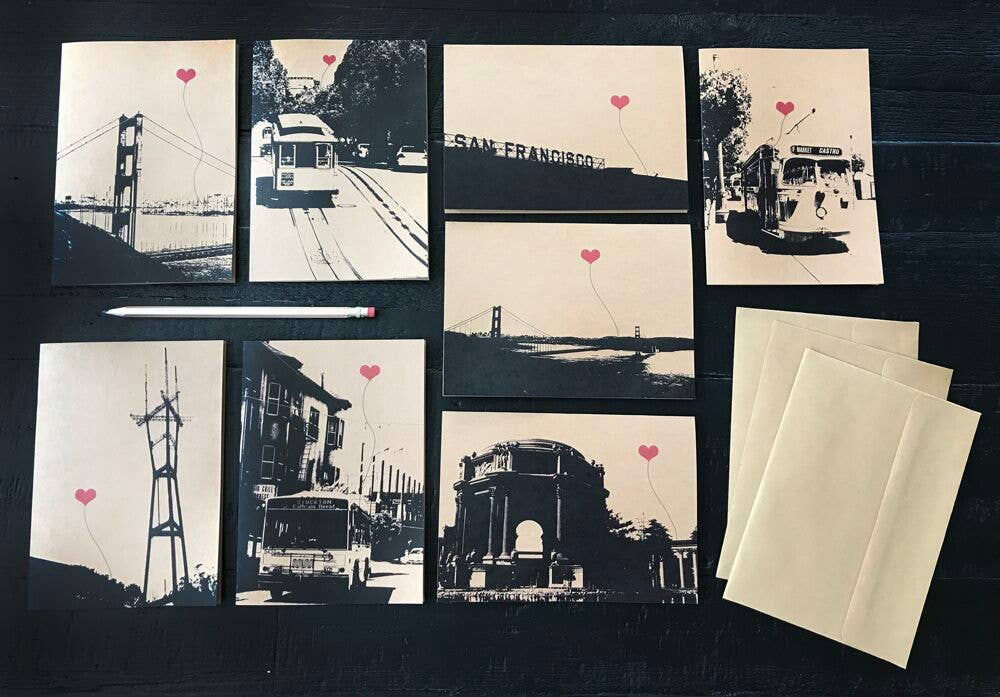San Francisco Lover's Assorted Boxed Set of 8 Note Cards | Trada Marketplace