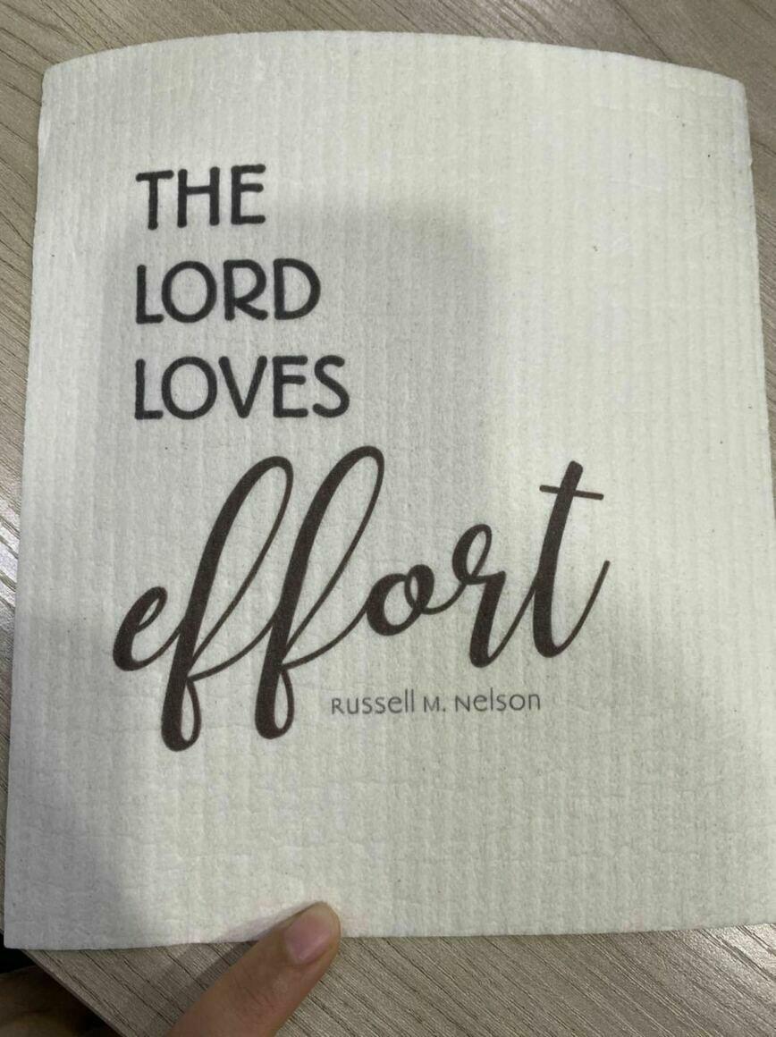 """The Lord Loves Effort"" Swedish Dishcloth   Trada Marketplace"