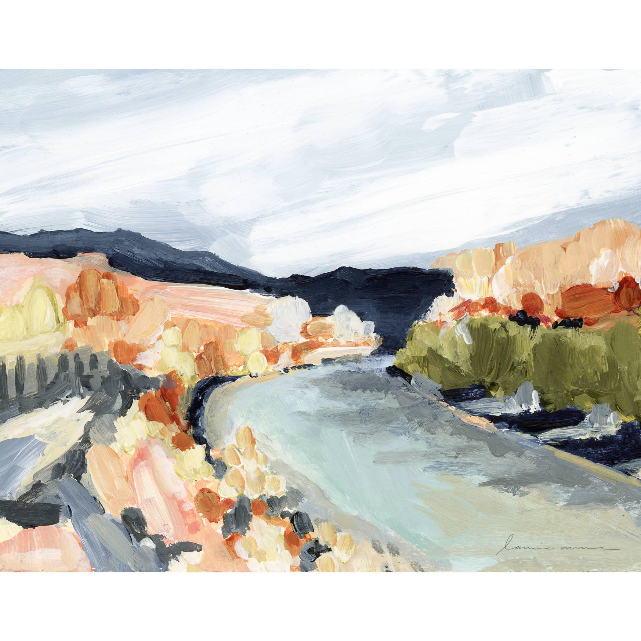 Painted River Horizontal Canvas Print   Trada Marketplace