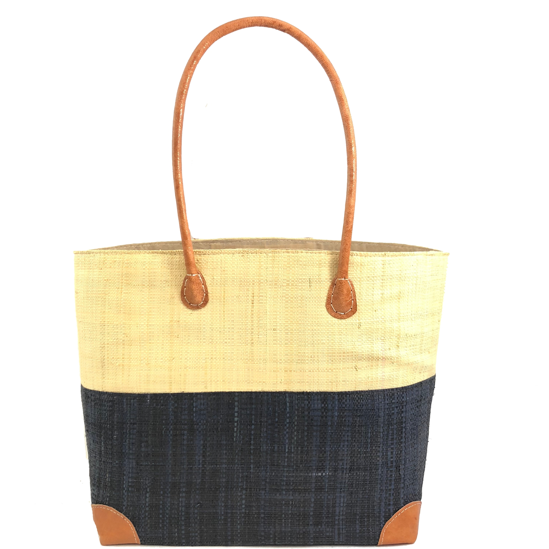 Trinidad Two Tone Straw Basket - Black | Trada Marketplace