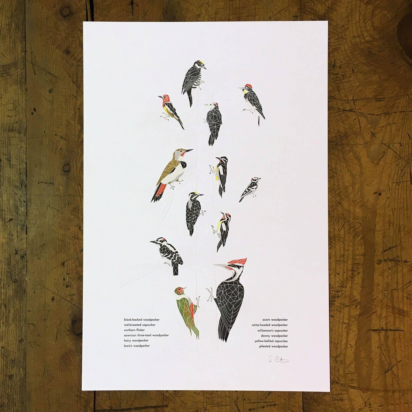 "12"" x 18"" A Few Woodpeckers Letterpress Print | Trada Marketplace"