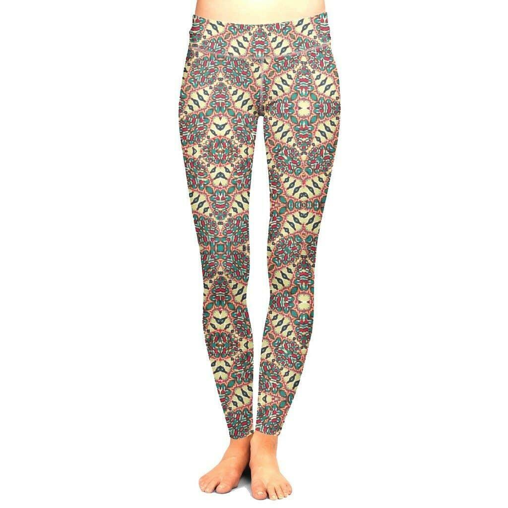 Multicolor Floral Leggings with Control Top - 3/4 Length | Trada Marketplace