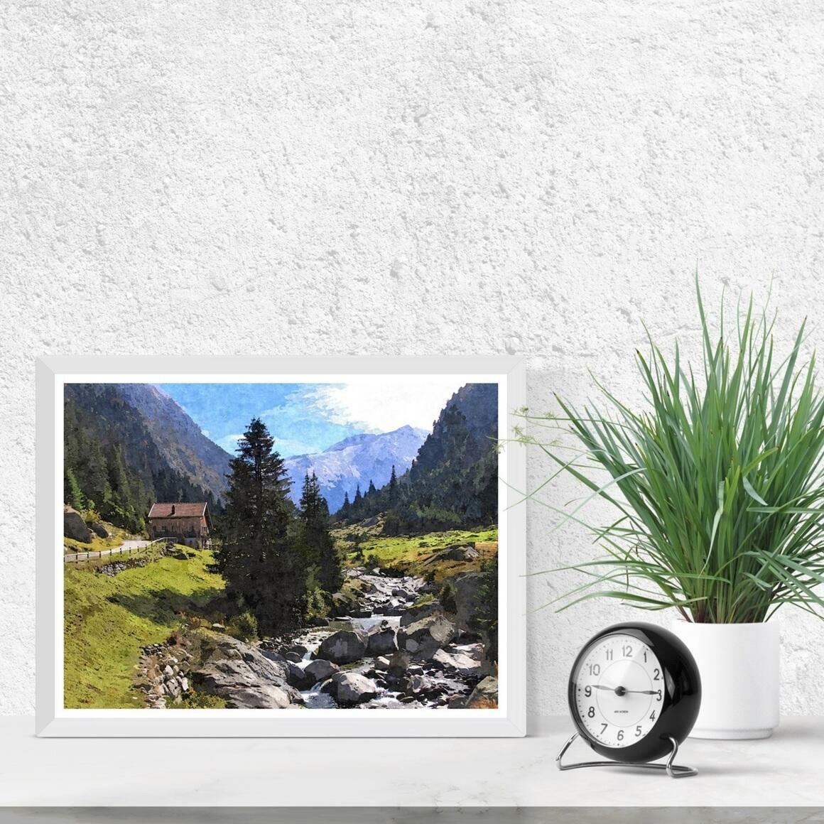 """Streamside Mountain Chalet"" Fine Art Print | Trada Marketplace"