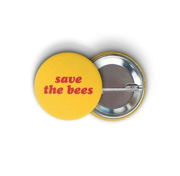 Save the Bees Round Pin-back Button | Trada Marketplace